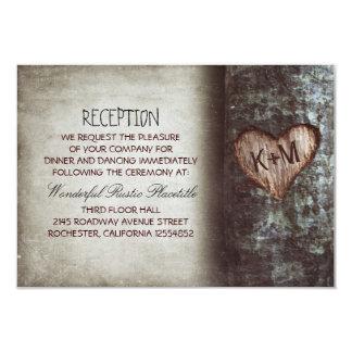 "tree rustic wedding reception & driving directions 3.5"" x 5"" invitation card"