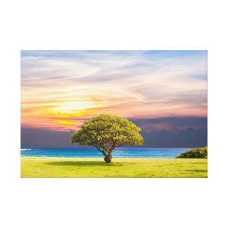 Tree, Sea & Grass. Canvas Print
