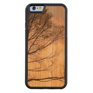 Tree Shadow on Wood Grain Carved Cherry iPhone 6 Bumper Case