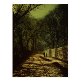 Tree Shadows on the Park Wall, Roundhay Park, Leed Postcard