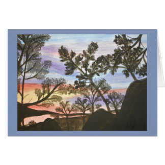 Tree Silhouesttes in the Sunset Watercolor Card