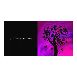 Tree Silhouette and Butterflies Abstract Art Photo Card Template