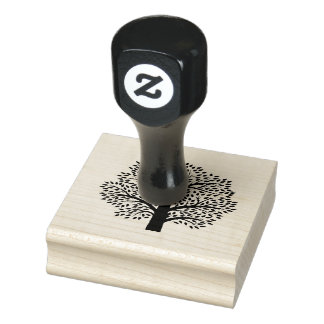Tree Silhouette Design Wooden Stamp