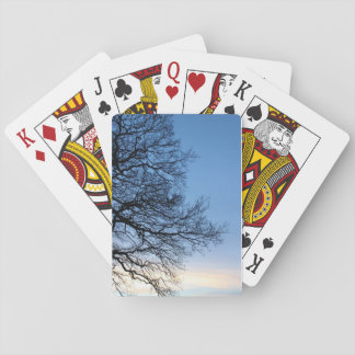 Tree Silhouette in a Blue Winters Sky Playing Cards