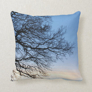 Tree Silhouette in a Blue Winters Sky Throw Pillow