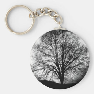 Tree Silhouette in Front of a Full Moon Basic Round Button Keychain