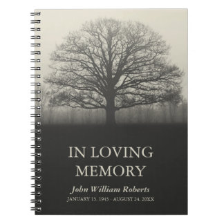 Tree Silhouette In Loving Memory Guestbook Note Book