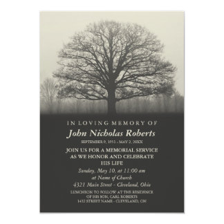 Tree Silhouette Memorial Service Card