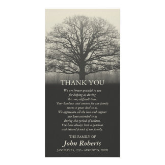 Tree Silhouette Memorial Service Thank You Picture Card