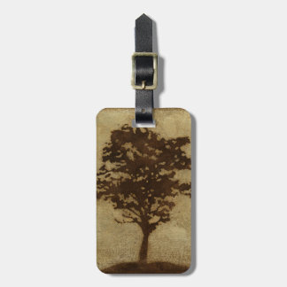 Tree Silhouette on Bronze Background Luggage Tag