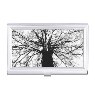 Tree Silhouette on White Case For Business Cards