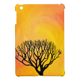 Tree Silhouette (Orange Sunburst) iPad Mini Cover
