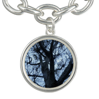 Tree Silhouette Photograph Charm Bracelet