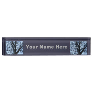 Tree Silhouette Photograph Desk Nameplate