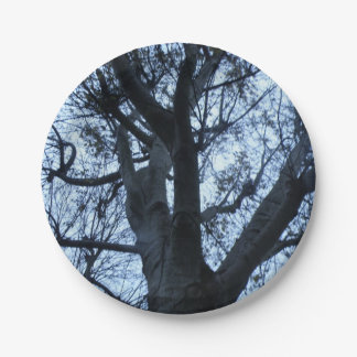 Tree Silhouette Photograph Paper Plate