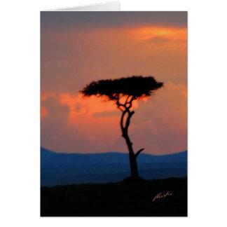 Tree Silhouette & Sunset, Masai Mara Card