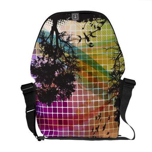 Tree Silhouette Vector Abstract Art Courier Bags