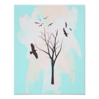 Tree Silhouette With Birds - Poster Print