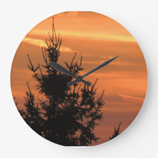 Tree silhouette with sunset large clock