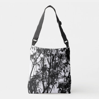 Tree Silhouettes Manitoba Maple Dawn Black White Crossbody Bag