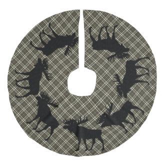 Tree skirt  Country Christmas brown plaid moose Faux Linen Tree Skirt