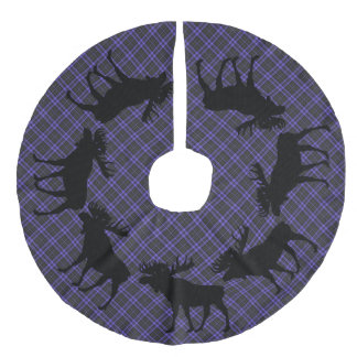 Tree skirt  Country Christmas Purple plaid moose