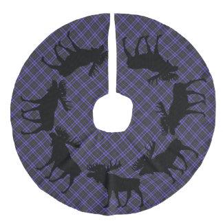 Tree skirt  Country Christmas Purple plaid moose Faux Linen Tree Skirt