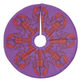 Tree skirt  Cute Lobster Nautical beach purple Fleece Tree Skirt