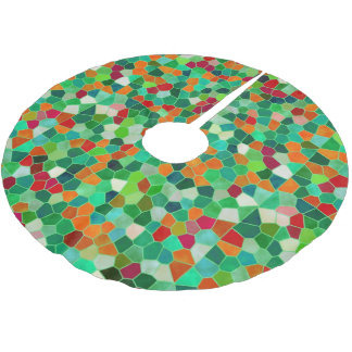 Tree Skirt Mosaic Texture Stained Glass Brushed Polyester Tree Skirt