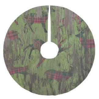 tree skirt rustic deer green plaid christmas