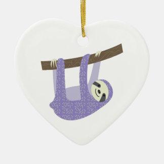 Tree Sloth Ceramic Heart Ornament