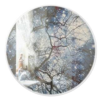 """Tree & Star"" Ceramic Pull Ceramic Knob"