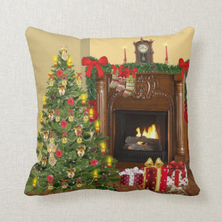 Tree, Stockings and Fireplace Cozy Christmas Throw Pillow