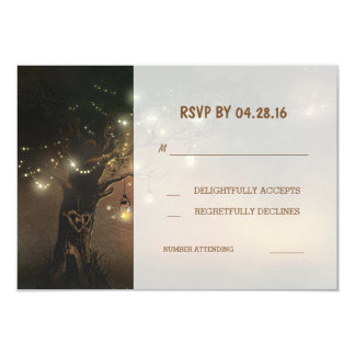 "tree string lights mason jars wedding RSVP cards 3.5"" X 5"" Invitation Card"