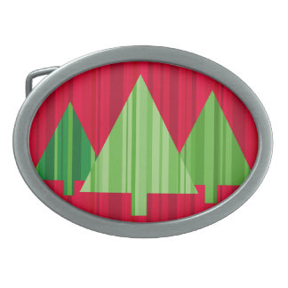 Tree Stripes Christmas Belt Buckle