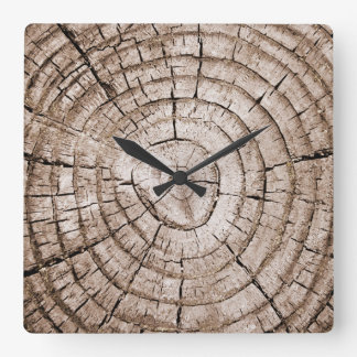 Tree Stump 2 Square Wall Clock