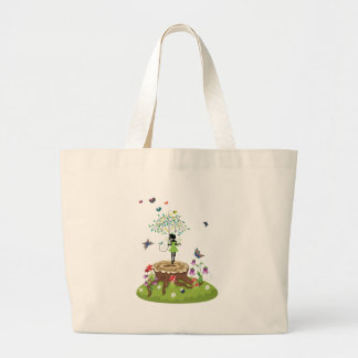Tree Stump and Fairy 2 Large Tote Bag