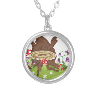 Tree Stump and Mushrooms Silver Plated Necklace