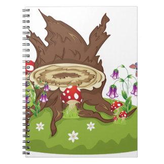 Tree Stump and Mushrooms Spiral Notebooks