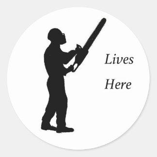Tree Surgeon Arborist at work present Chainsaw Classic Round Sticker