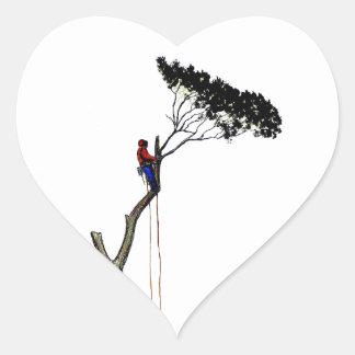 Tree Surgeon Arborist at work present Chainsaw Gif Heart Sticker