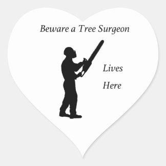 Tree Surgeon Arborist at work present Chainsaw Heart Sticker