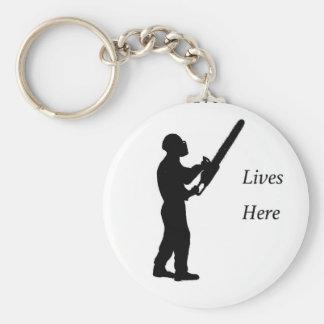 Tree Surgeon Arborist at work present Chainsaw Keychain