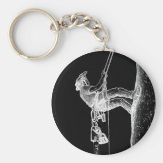 Tree Surgeon Arborist at work present Chainsaw Keychain