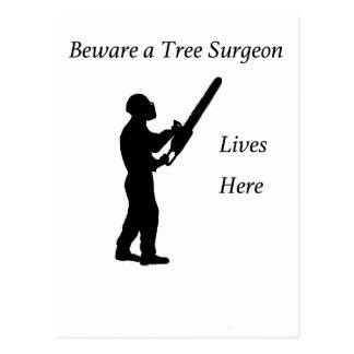 Tree Surgeon Arborist at work present Chainsaw Postcard