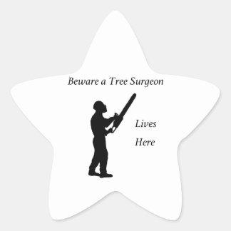 Tree Surgeon Arborist at work present Chainsaw Star Sticker