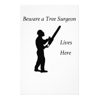 Tree Surgeon Arborist at work present Chainsaw Stationery