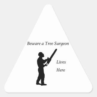 Tree Surgeon Arborist at work present Chainsaw Triangle Sticker