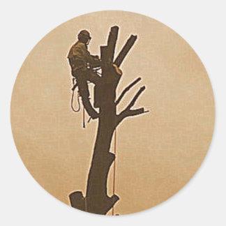 Tree Surgeon Arborist at work present Classic Round Sticker