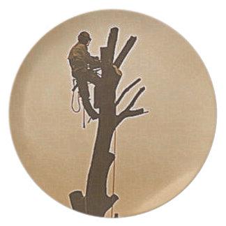 Tree Surgeon Arborist at work present Plate
